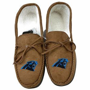 Carolina Panthers Mens Moccasin Slippers Small 7/8